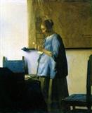 读信的蓝衣女子